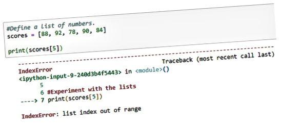 Intervalo de índice Python