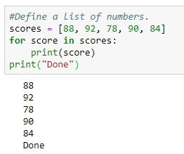 Looping através de uma lista Python