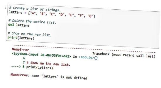 удалить список Python