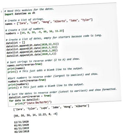 informações de classificação na lista Python ao contrário