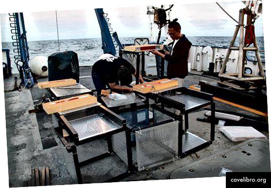 Les chercheurs du Media Lab assemblent un Hygroscape sur le pont du Nautilus. Crédit: Katy Croff Bell