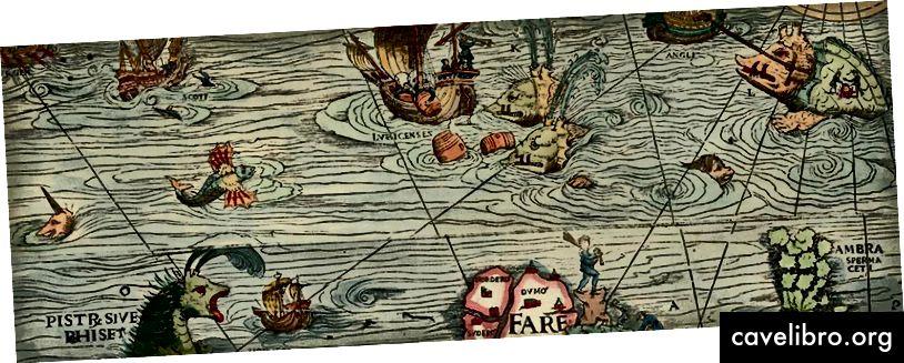 नॉर्दर्न लैंड्स और उनके मार्वल्स का समुद्री नक्शा और विवरण, सबसे ध्यान से लॉर्ड्स में वर्ष 1539 में परम आदरणीय लॉर्ड हरिओमिनो क्विरिनो की उदार सहायता के माध्यम से तैयार किया गया था। क्रेडिट: ऑलॉस मैग्नस