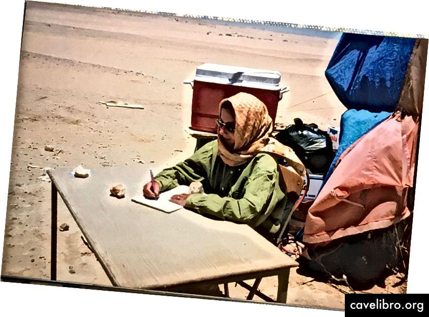Judith Bunbury enregistre des trouvailles dans son bureau au Sahara