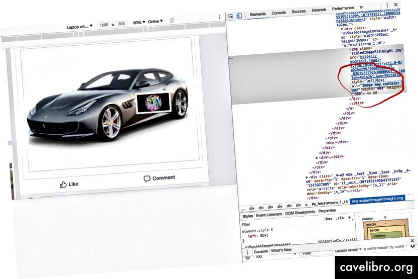 Vasemmalla: facebook-viestini, oikealla: Chrome Dev -työkalut