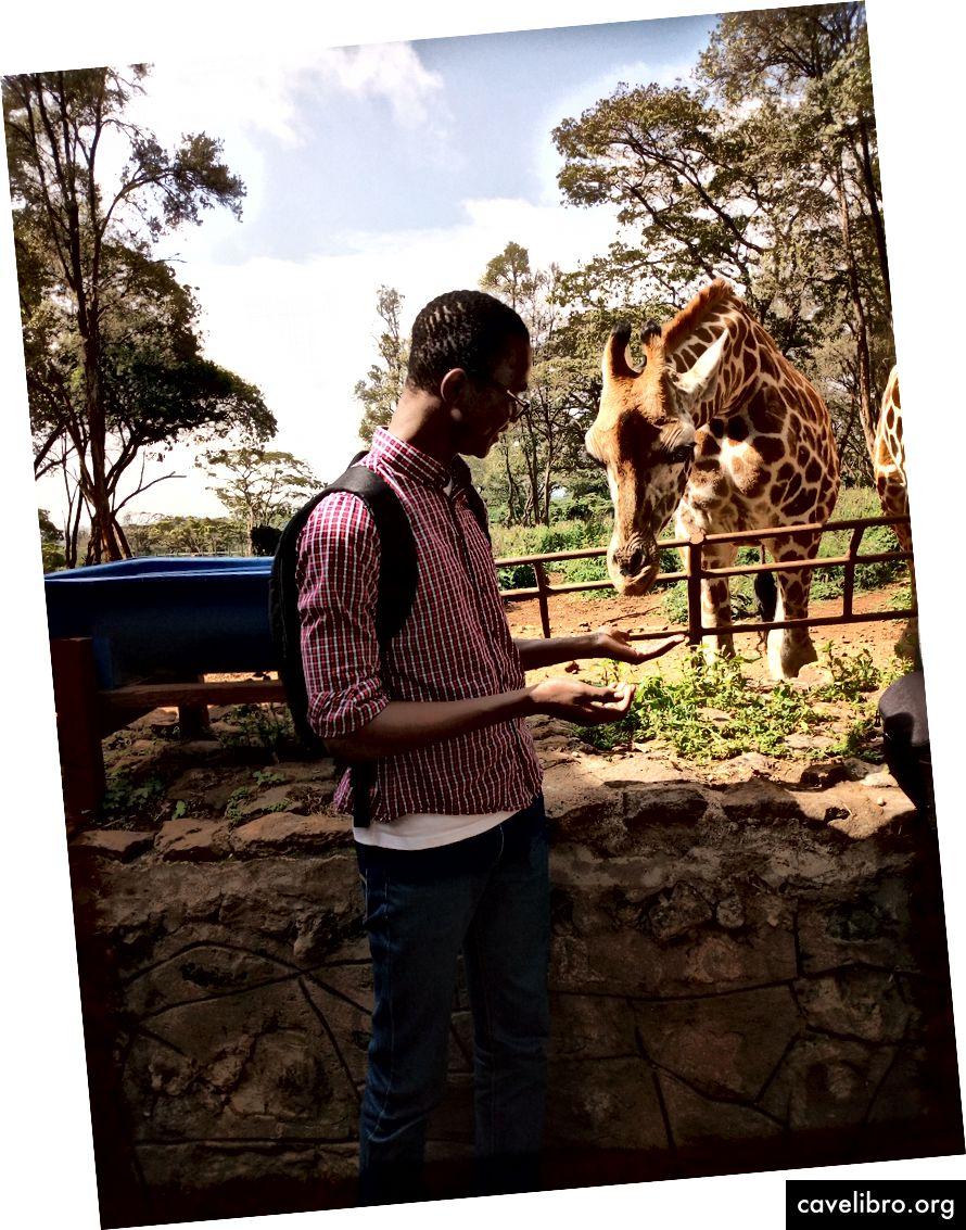 Kŕmenie môjho žirafového kamaráta niekoľkými peletami