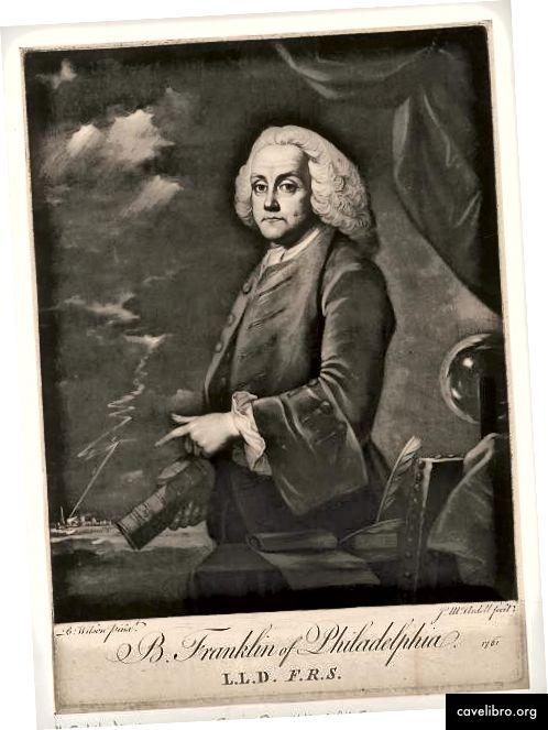 Polovični portret Benjamina Franklina Benjamina Wilsona, 1761. Poput Franklina, Wilson je eksperimentirao s električnom energijom; u pozadini ove slike munja udara u selo. Franklin je sjedio za sliku dok je služio kao diplomat u Londonu.