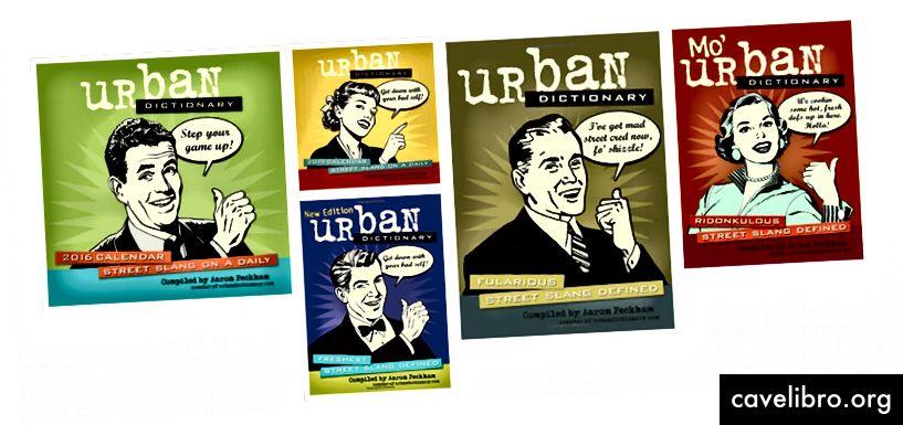 Kolaž koji sam napravio od robe, uključujući knjige i kalendare napisao i dizajnirao osnivač Urban Dictionary, Aaron Peckham