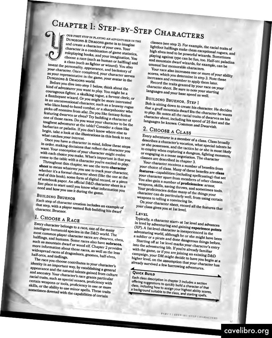 Chp की शुरुआत का नमूना पृष्ठ। प्लेयर की हैंडबुक से 5 (5e)।