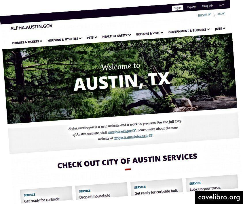 Trang chủ Alpha.austin.gov; điều hướng menu bao gồm giấy phép và vé, nhà ở và các tiện ích, vật nuôi, sức khỏe và an toàn, khám phá và thăm, chính phủ và doanh nghiệp, và công việc