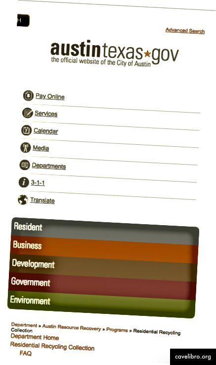 Austintexas.gov पर वर्तमान मोबाइल दृश्य