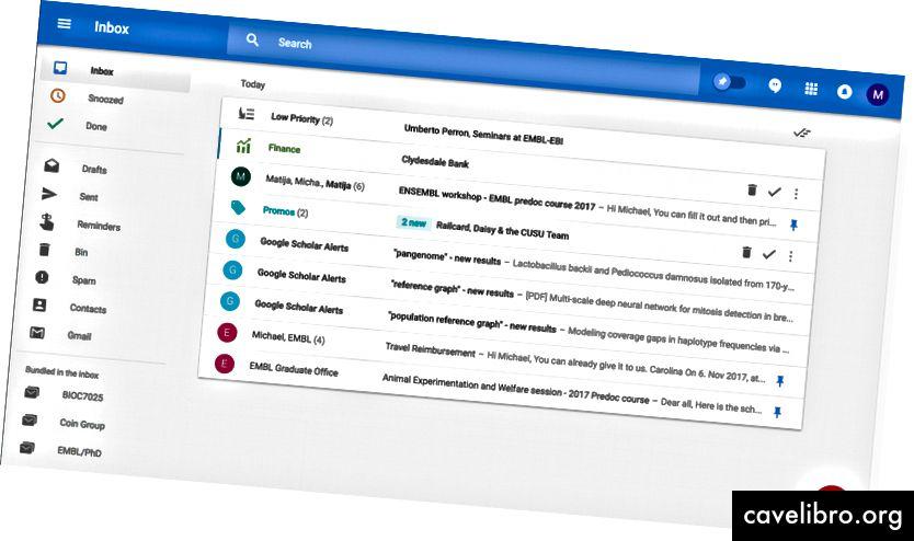 जीमेल द्वारा मेरे इनबॉक्स का स्क्रीनशॉट
