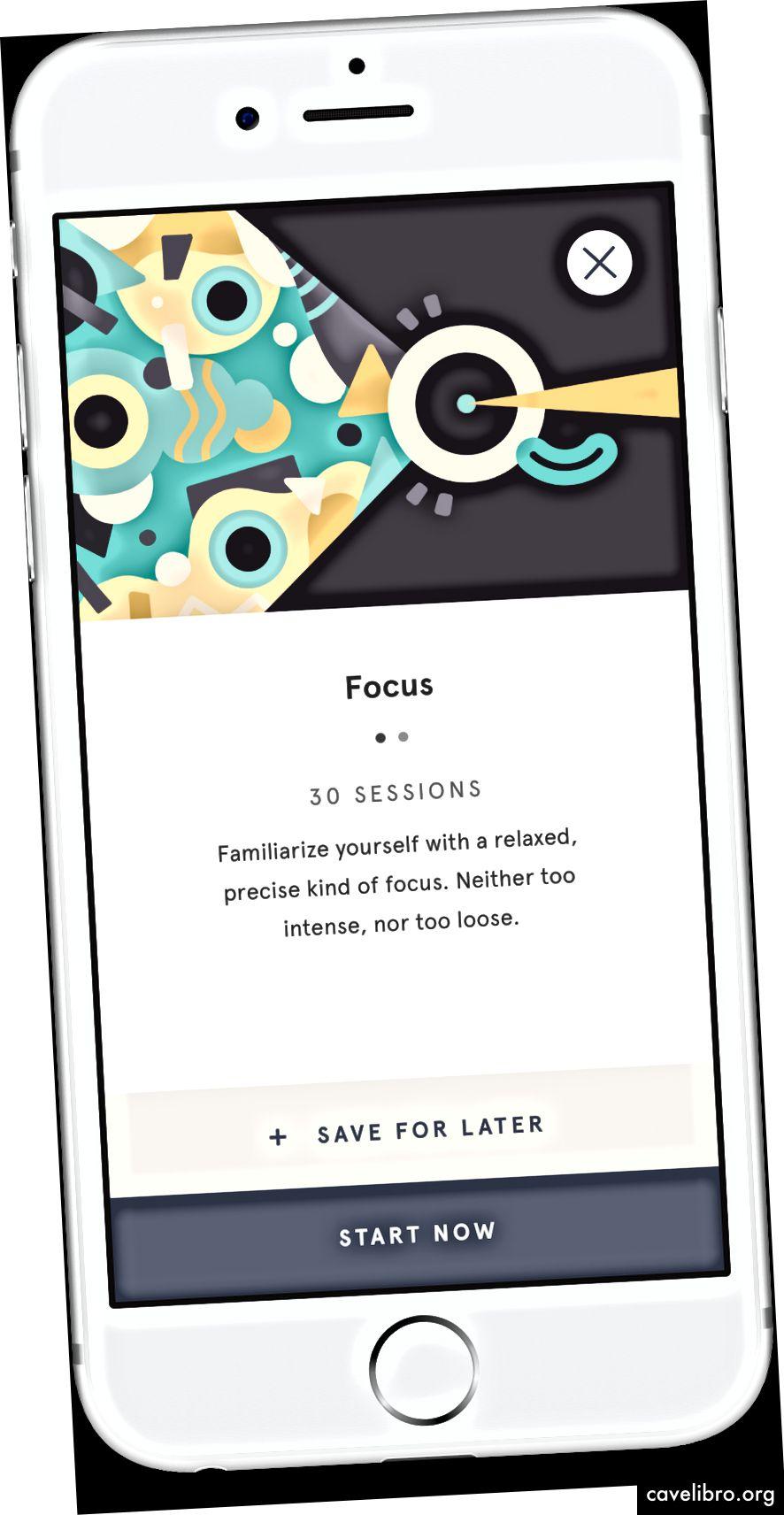 Capture d'écran du Focus pack dans l'application Headspace. Source de l'image: https://www.headspace.com/press-and-media