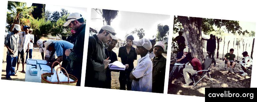 Cristian Capelli et son groupe collectent des échantillons en Namibie