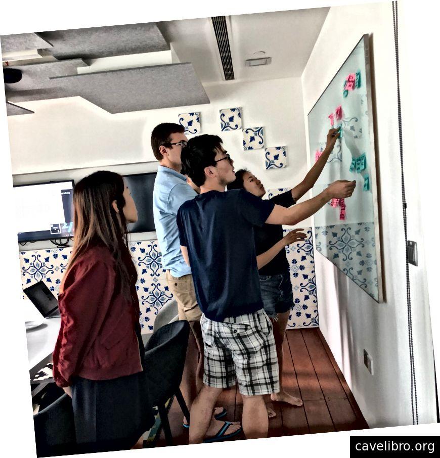 Notre incroyable équipe produit à Singapour, impliquée dans la recherche.