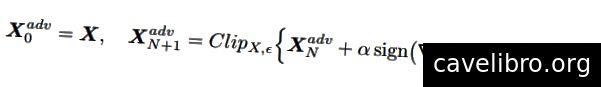 BIM सूत्रीकरण जहां J मॉडल के नुकसान फ़ंक्शन को दर्शाता है, N पुनरावृत्ति की संख्या को दर्शाता है, और α एक स्थिरांक है जो गड़बड़ियों (कुराकिन एट अल।, 2017) के परिमाण को नियंत्रित करता है। क्लिप {} फ़ंक्शन यह सुनिश्चित करता है कि उत्पन्न प्रतिकूल उदाहरण अभी भी दोनों (गेंद (यानी [x-[, x + ϵ]) और इनपुट स्पेस (यानी [0, 255] पिक्सेल मानों) की सीमा के भीतर है।