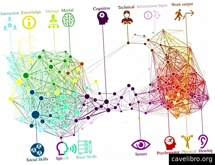 स्किलस्केप: कौशल संपूरकता द्वारा जुड़े कौशल का एक उच्च-रिज़ॉल्यूशन नेटवर्क। कौशल ध्रुवीकरण संवेदी-शारीरिक कौशल (दाईं ओर) से सामाजिक-संज्ञानात्मक कौशल (बाईं ओर) को अलग करता है। कौशल O * NET कौशल श्रेणी के अनुसार रंगीन होते हैं।