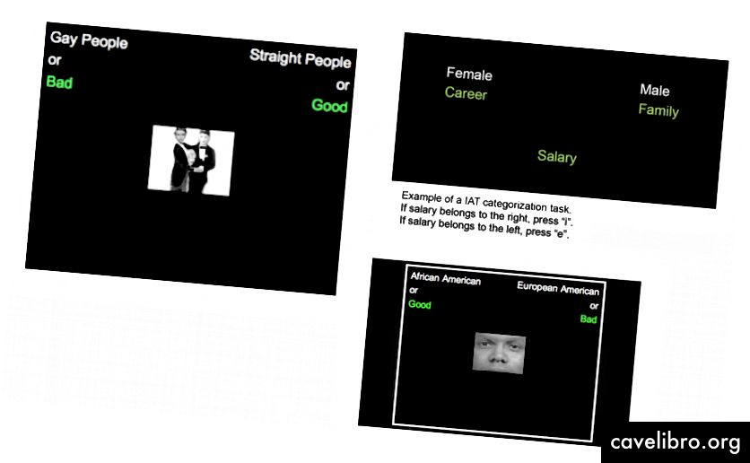 चित्र 6-8: Test IAT टेस्ट उदाहरण ', कई स्रोतों से लिया गया।