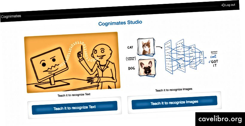 Cognimates Teach AI platformos pavyzdys, kur vaikai gali mokyti savo klasifikatorius su vaizdais ir tekstu. Kreditas: Stefania Druga 2018