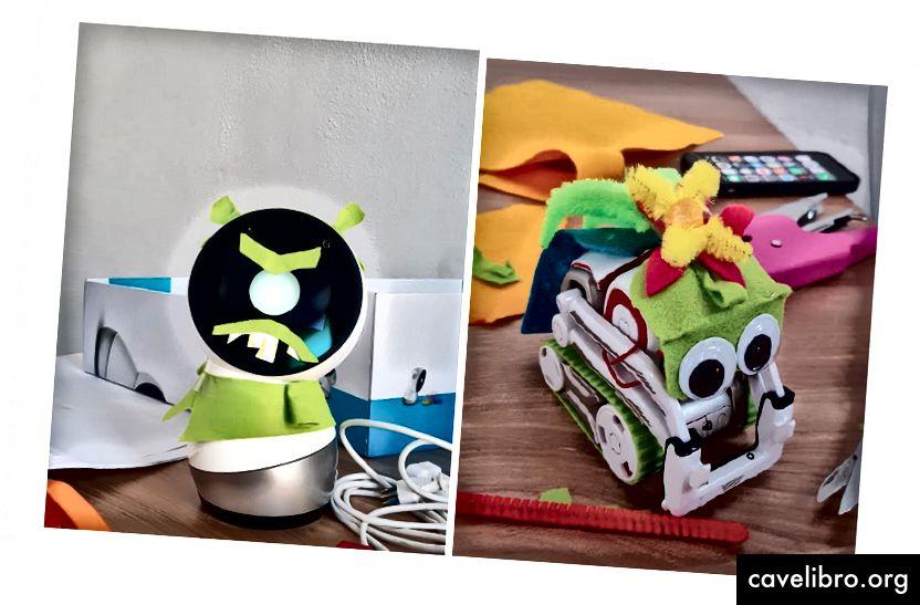 Fizinio pažinimo veikėjų pavyzdžiai: Ogre ir varlės princas kartu su vaikais sukūrė kūrybinį pasakojimą su kodiniu projektu. Kreditas: Stefania Druga