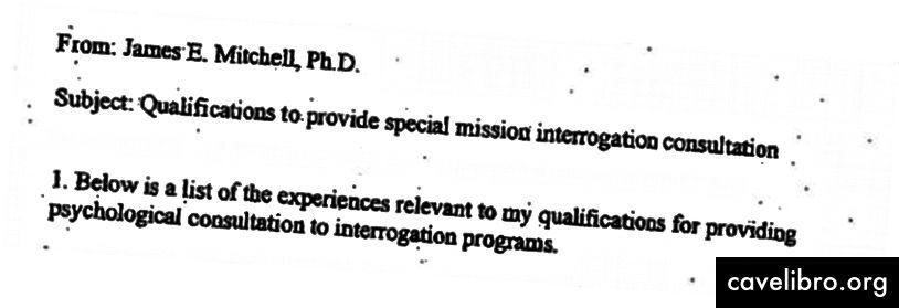Helmikuusta 2003 lähtien James Mitchellin muistio kiinnostuneille CIA-osapuolille