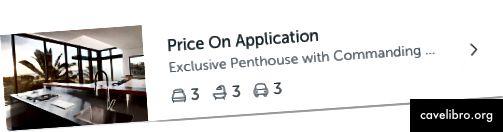 Ikony Realestate.com.au dla liczby sypialni, łazienek i miejsc samochodowych na liście nieruchomości