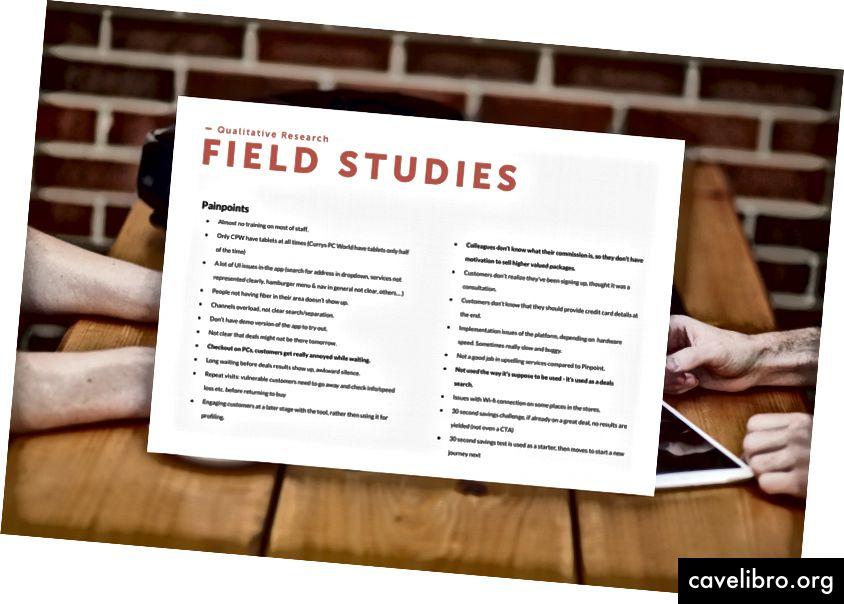 Notes des études de terrain