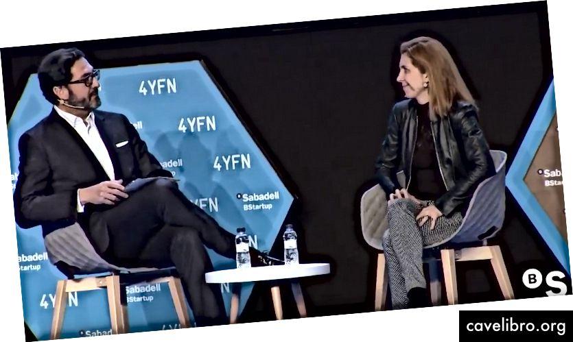 """Žiūrėk! Alfonso Ayuso (""""Banco Sabadell"""" vyriausiasis analitikas) ir Nuria Oliver (""""Vodafone"""" tyrimų duomenų mokslo direktorius) aptaria iššūkius su AI susiduriančiais korporacijomis ir pradedančiomis įmonėmis."""
