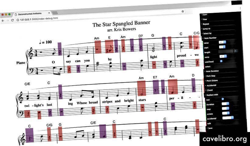 Deconstructed Anthems प्रदर्शन और स्थापना के लिए स्कोर का एक पृष्ठ। Deconstructed Anthems की अधिक छवियां देखें।
