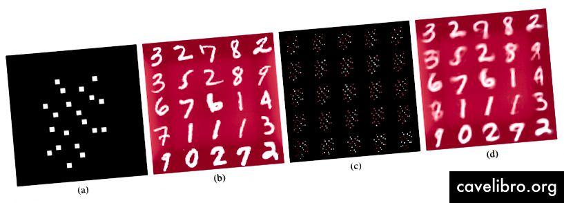 (a) Illustration des 20 pixels les plus importants (sur un total de 784) (b) Exemples d'images du jeu de données MNIST (c) Affichage des 20 pixels sélectionnés à partir de chaque exemple d'image dans le panneau précédent. (d) Les images reconstruites en utilisant uniquement les 20 pixels sélectionnés, ce qui correspond assez bien aux images d'origine. Merci Melih d'avoir fait ce chiffre et de ne pas être frustré par mes commentaires!