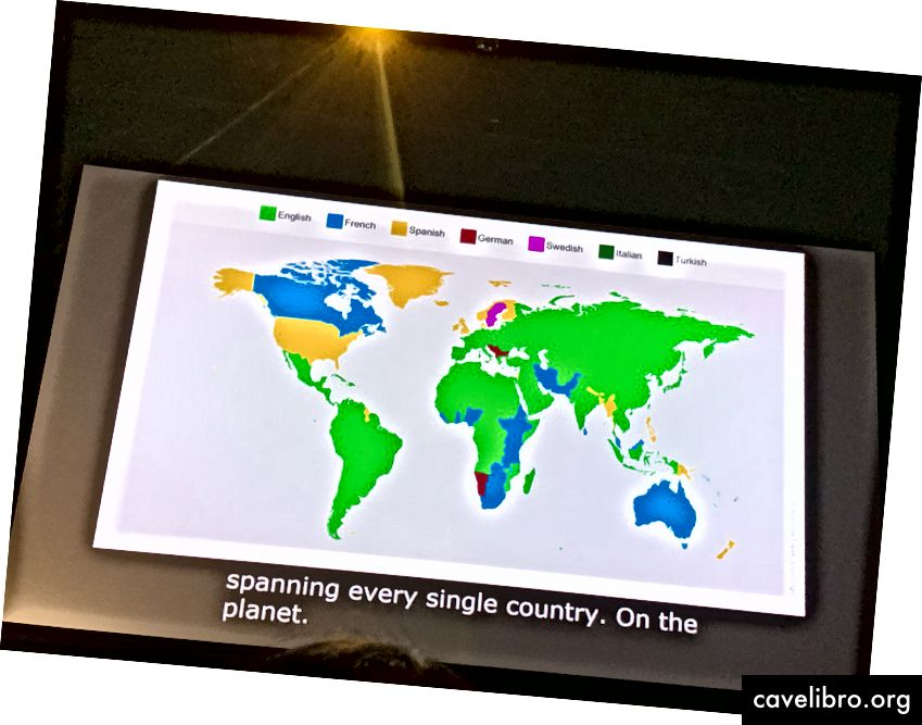Večina ljudi se uči angleško (zeleno)
