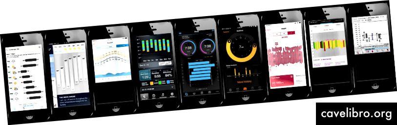 Apps (L → R): Ciel sombre · Weathertron · Weather Line · Heure de veille Azumio · Garmin Connect · Heure du coucher (Horloge iOS) · Activité (iOS) · Veille nocturne (Choe et al, Proc. UbiComp 2015) · Une application de suivi de la pression artérielle par Chittaro (Proc. AVI 2006)