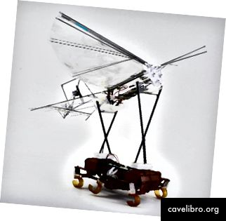 Koordinované spustenie ornithopteru so šesťhranným robotom