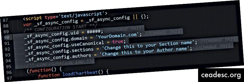 Código del fragmento de ChartBeat que necesitaremos personalizar