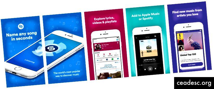 Shazamin kuvakaappaukset App Storesta
