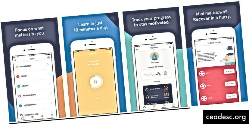 Headspace-kuvankaappaukset App Storesta
