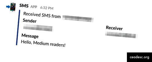 Cómo la función anterior formatea los mensajes SMS enviados a Slack