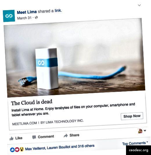 Provoking Ad, joka ylpeilee pilven kuolemasta.