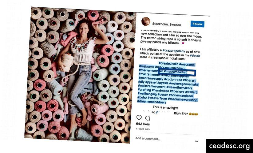 Chủ đề Macrame Instagram của tôi chủ yếu là về các nghệ sĩ macrame, vì vậy #macrameartist có vẻ như là một hashtag rất phù hợp.