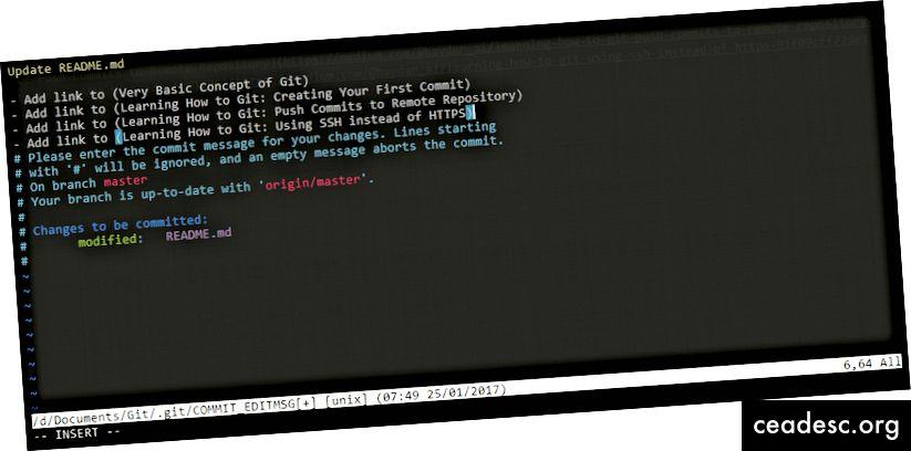 Usando Vim para crear una confirmación Git