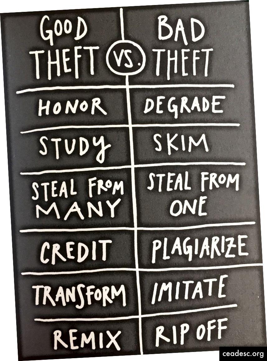 """Pilt, mis leiti teosest """"Varasta nagu kunstnik"""" - Austin Kleon; see illustreerib kunstniku varastamise mõistet"""