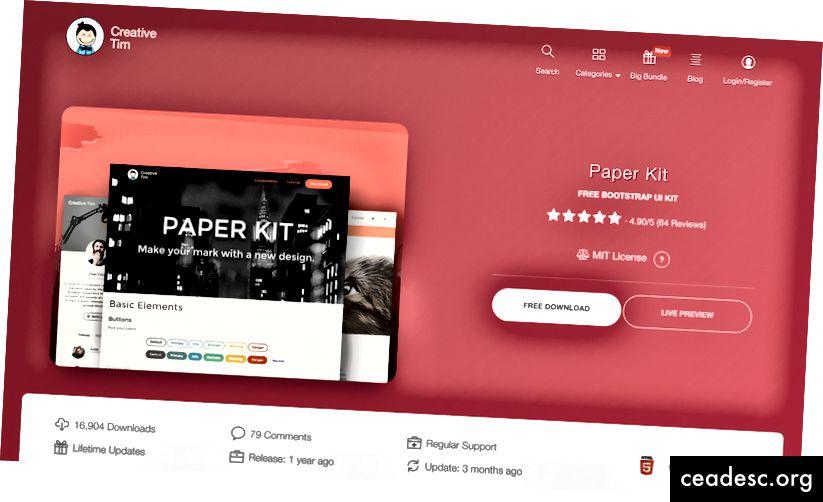 Paberikomplekt, mida pakutakse tasuta allalaadimiseks saidil Creative Tim.
