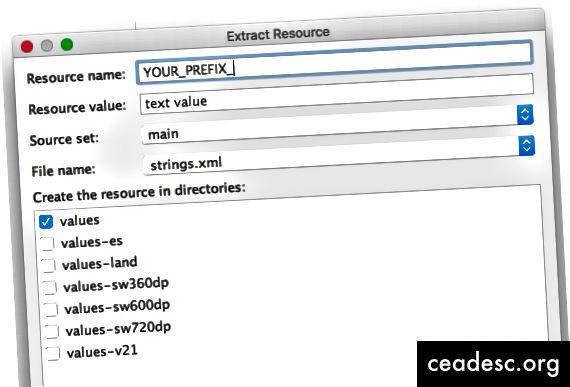 Android Studio Extract Resource -valintaikkuna täydentää etuliitteen automaattisesti