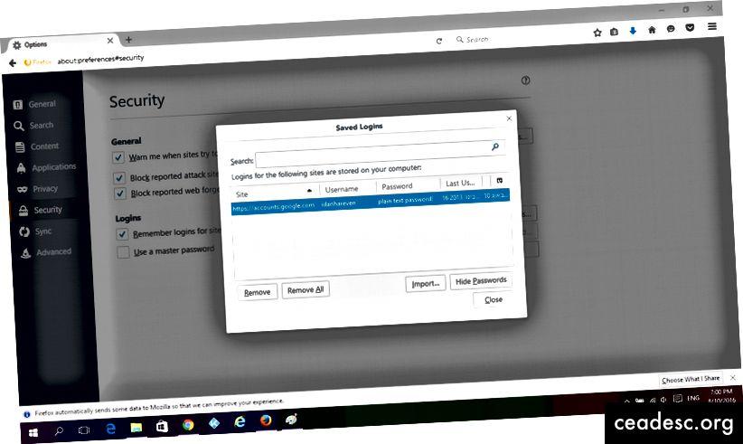 Inicios de sesión guardados en Firefox: puede ver las contraseñas guardadas como texto sin formato