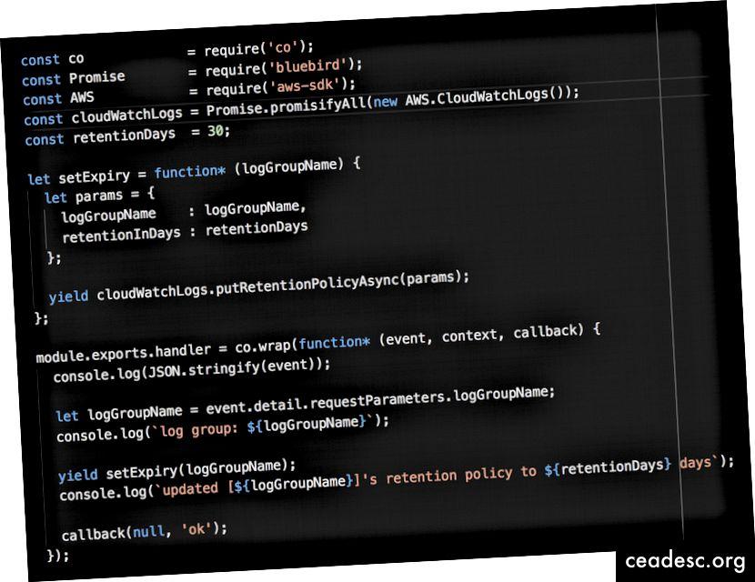 Aquí hay una función Lambda para actualizar automáticamente la política de retención de registros a 30 días.