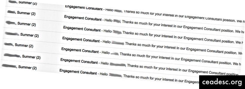 La bandeja de entrada después de enviar correos electrónicos a los candidatos para notificarles que no avanzaban a la ronda de entrevistas.
