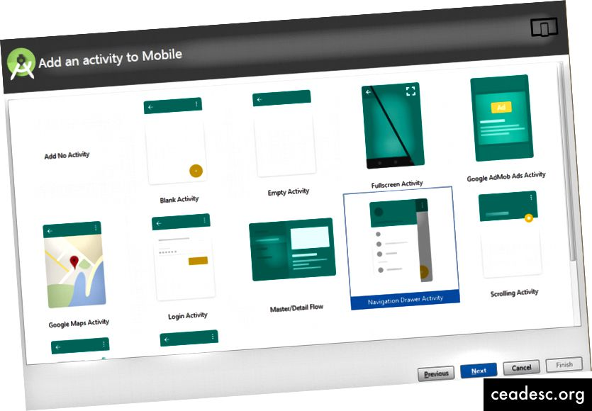 Ejemplo de cajón de navegación - androidhunger.com