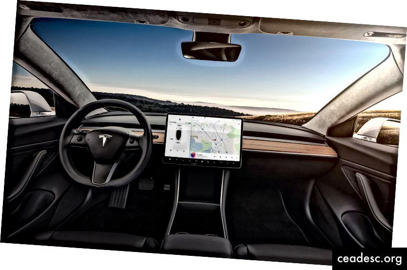 Conduciendo literalmente hacia el futuro en un Tesla.