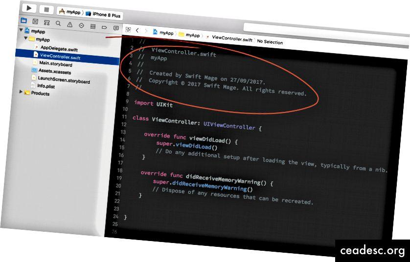 L'en-tête par défaut généré par Xcode