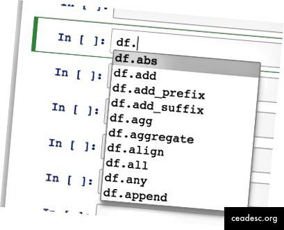 Jos painat välilehteä DataFrame-kehyksen jälkeen, luetellaan yli 200 käytettävissä olevaa objektia