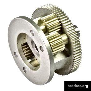 Una pequeña parte de la caja de cambios para reducir la velocidad de un motor. (fuente)